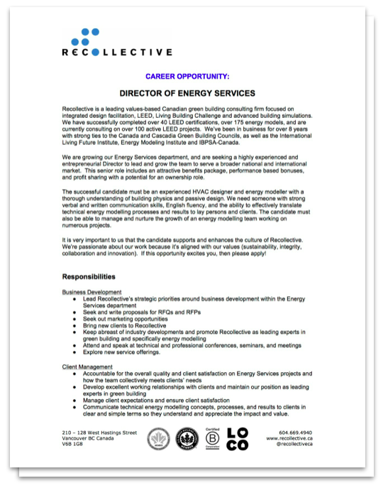 Job Posting - Director of Energy Services at Recollective 2014-12-01